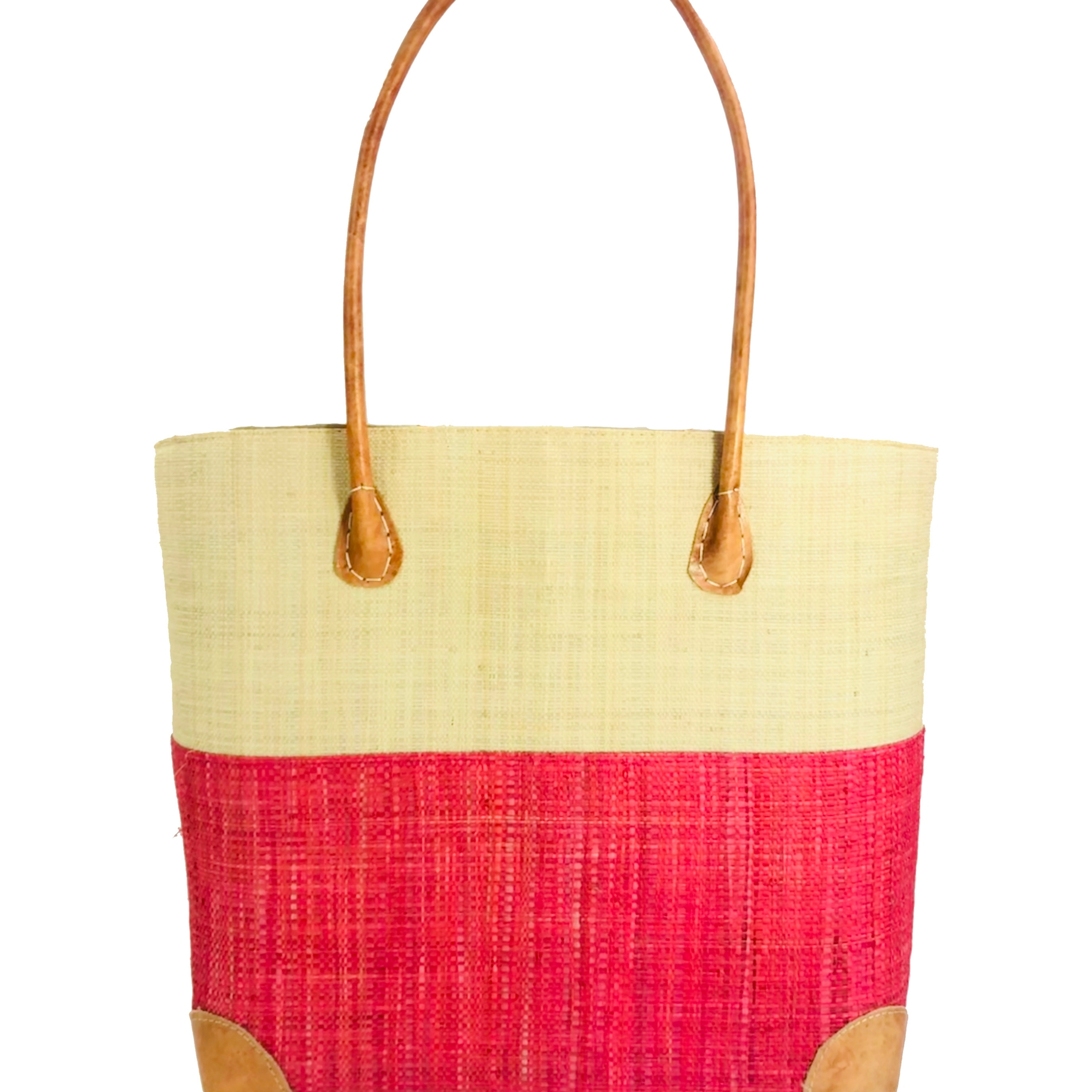 Trinidad Two Tone Straw Basket - Raspberry | Trada Marketplace