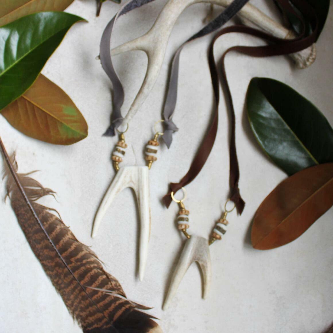 Deer Fork Antler Necklace. Leather + Bone Beads. Neutral   Trada Marketplace