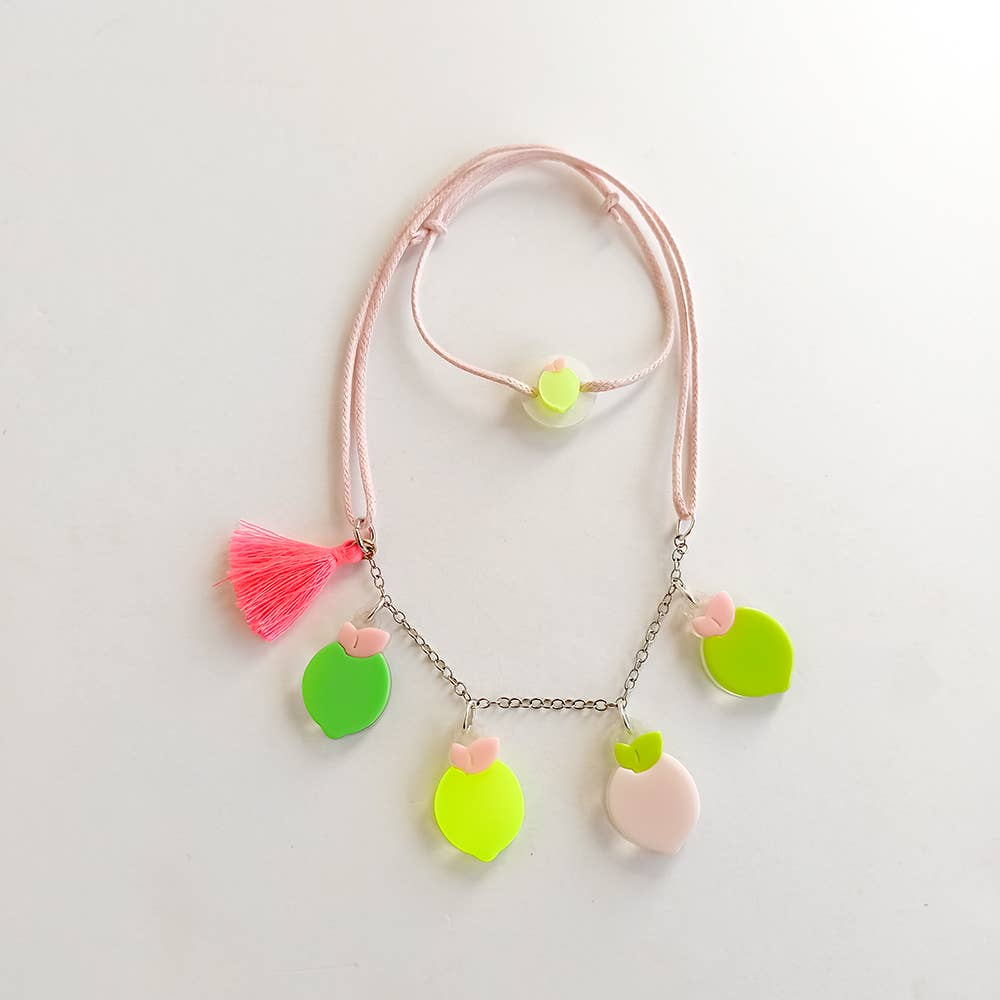 Multi Lemon Pink Green Necklace - Fruit Stand   Trada Marketplace