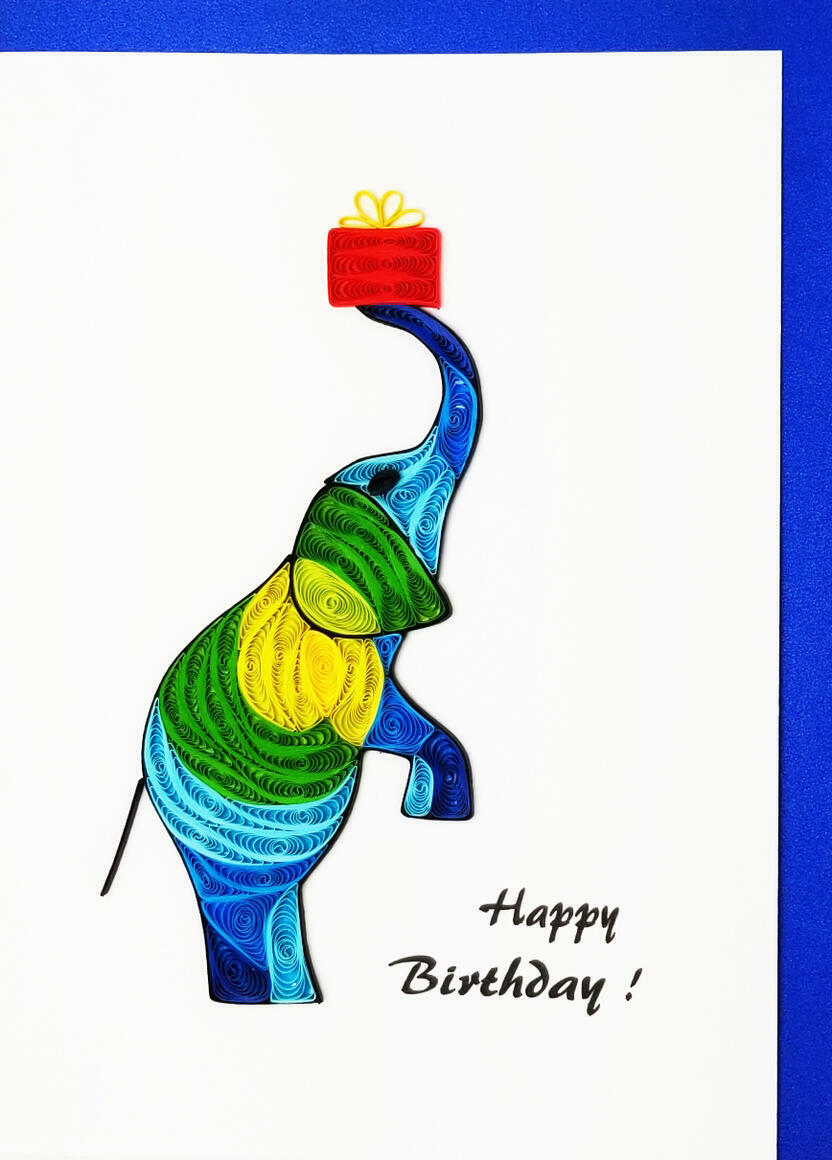 Happy Birthday Elephant w/Gift   Trada Marketplace