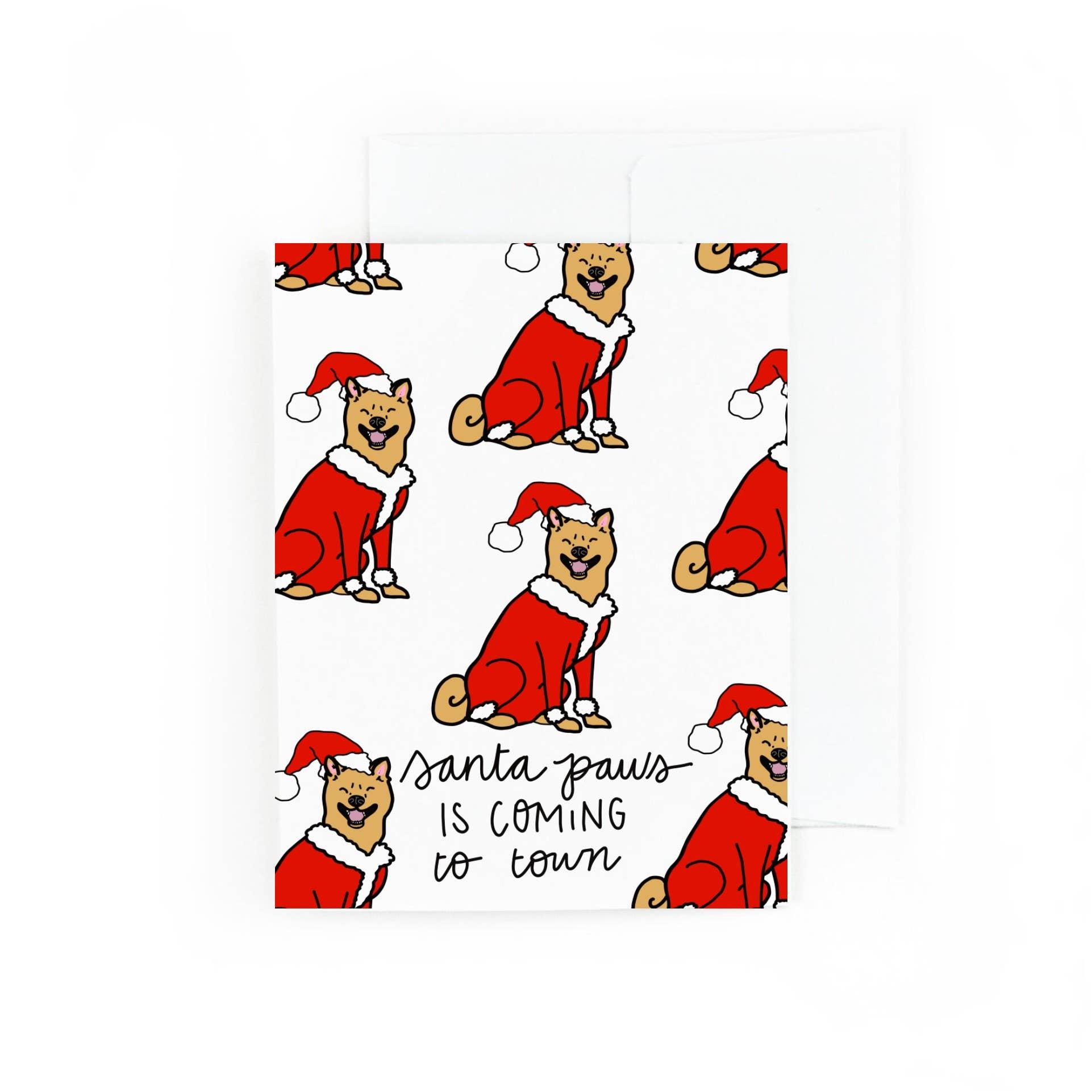 Santa Paws is Coming To Town Shiba Inu Greeting Card | Trada Marketplace