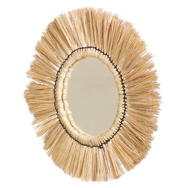 Grass Fringe Mirror Wall Mirror - 15 inch Dia   Trada Marketplace