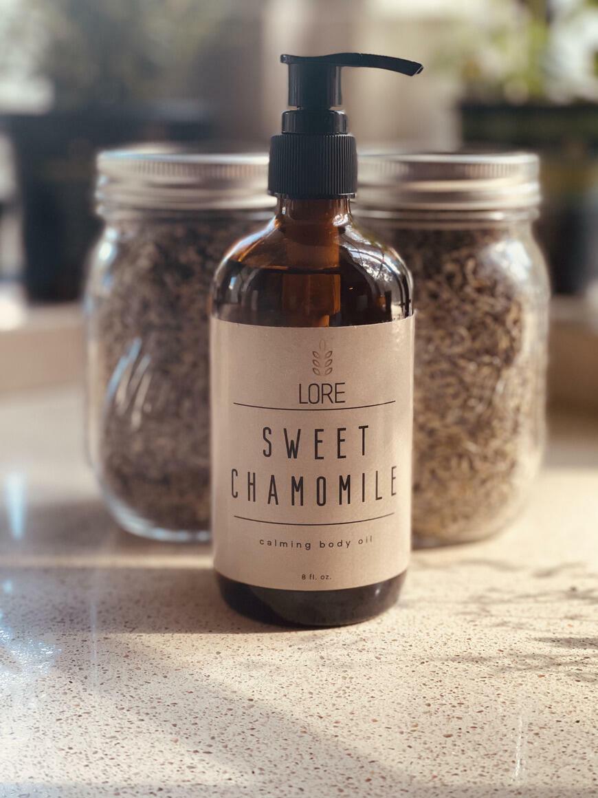 Sweet Chamomile Body Oil 8oz   Trada Marketplace