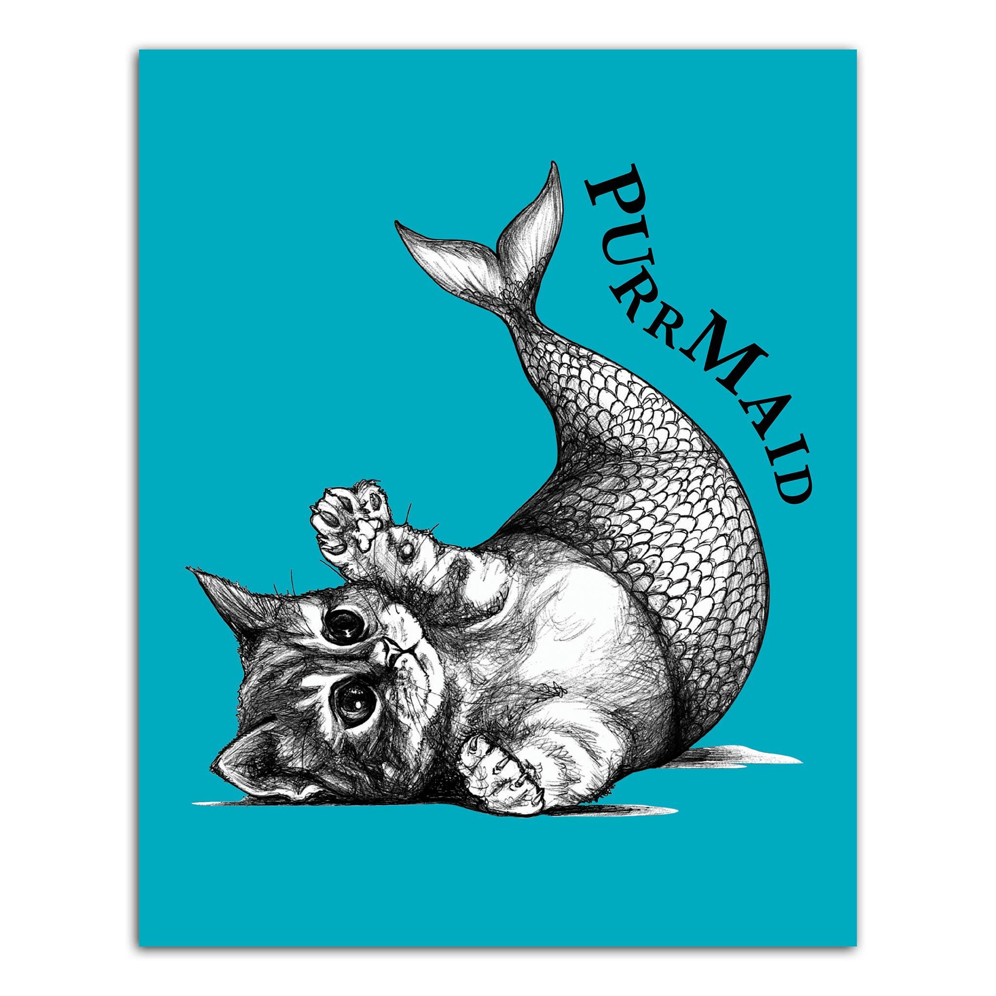 "Purrmaid 8x10"" Art Print   Trada Marketplace"