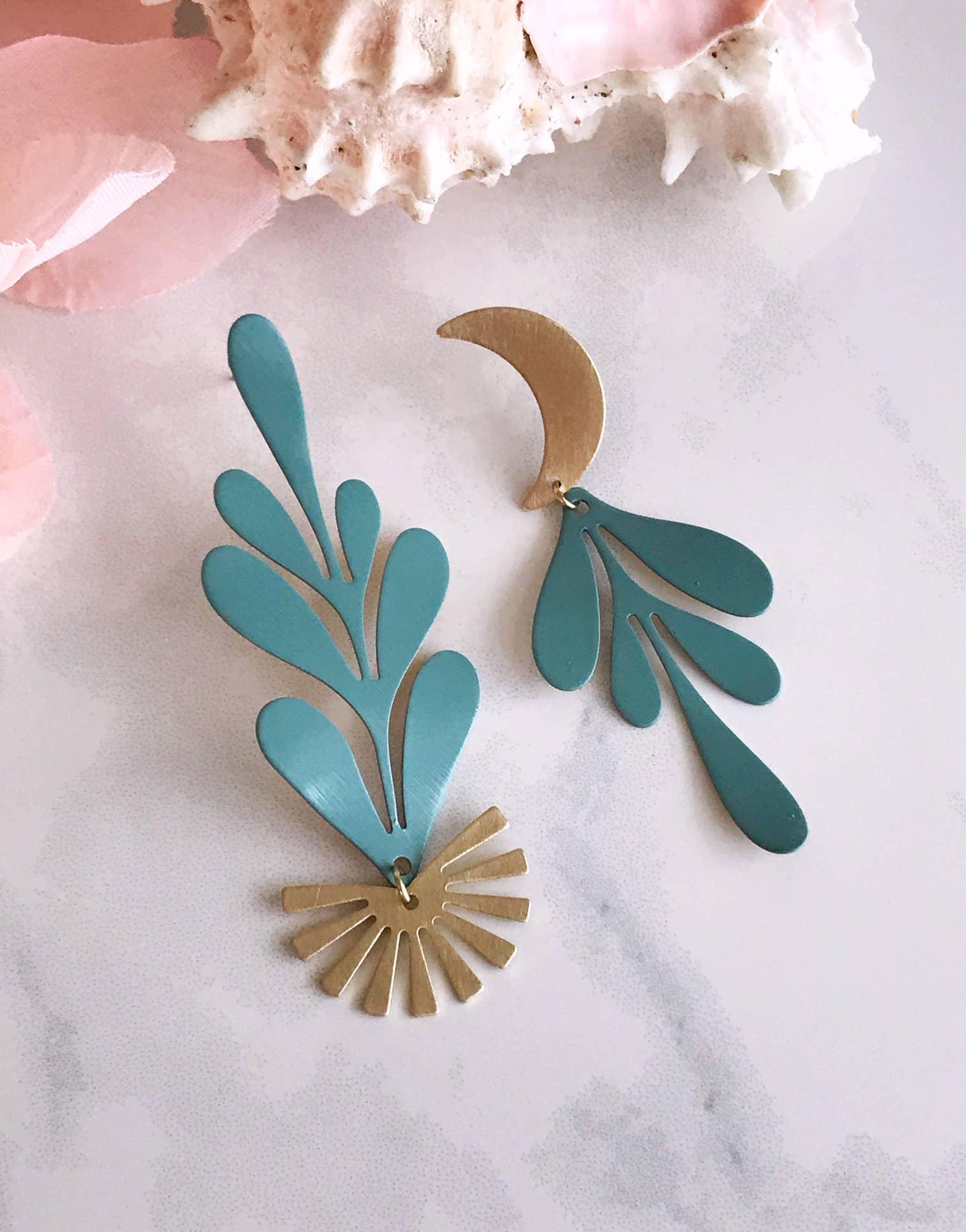 moon flower earrings - sage   Trada Marketplace