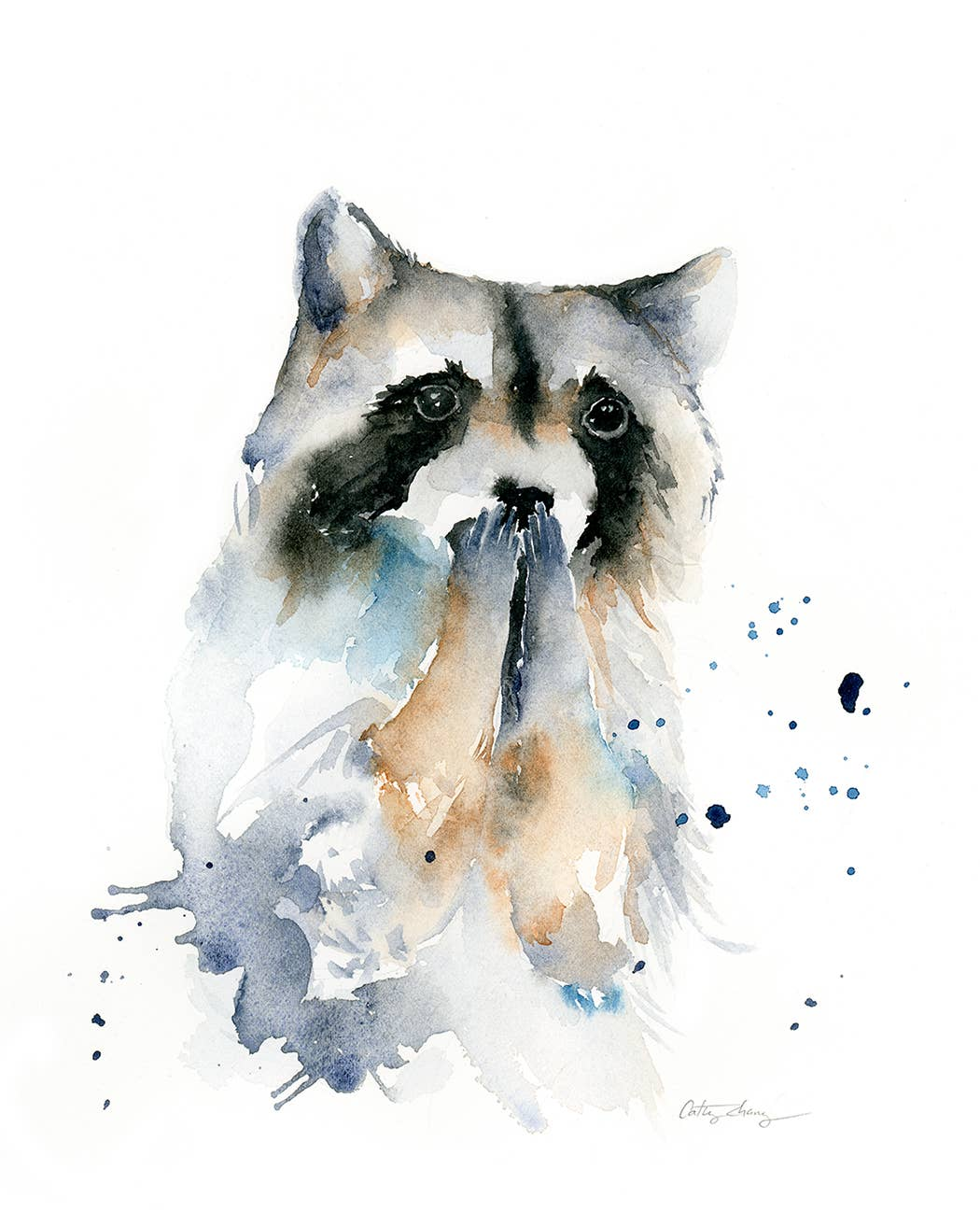 Excited Raccoon Watercolor Art Print | Trada Marketplace