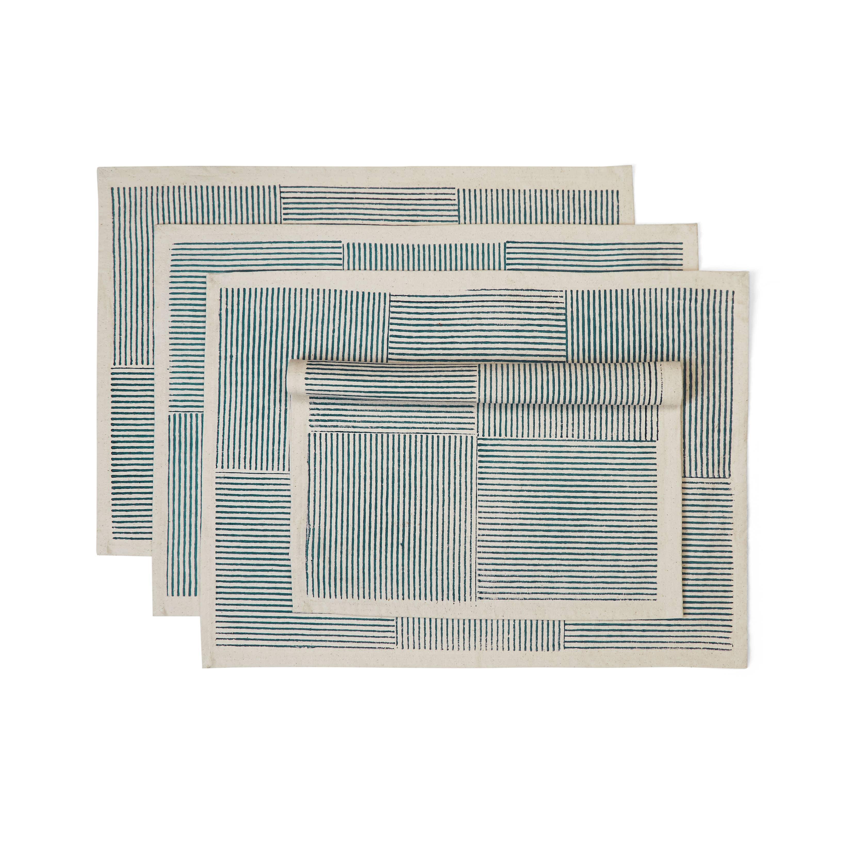 CERULEAN Placemat (set of 4),  Block printed Cotton | Trada Marketplace