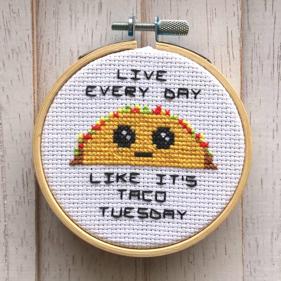 Taco Tuesday Counted Cross Stitch DIY KIT   Trada Marketplace