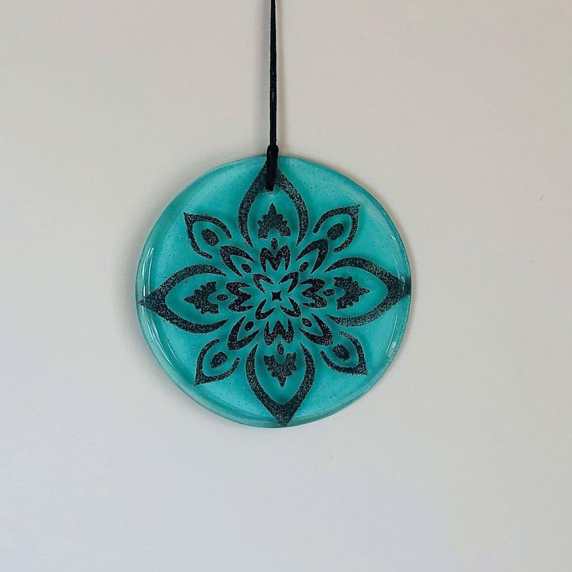 Glass Mandala Window Ornament Suncatcher - Aquamarine | Trada Marketplace