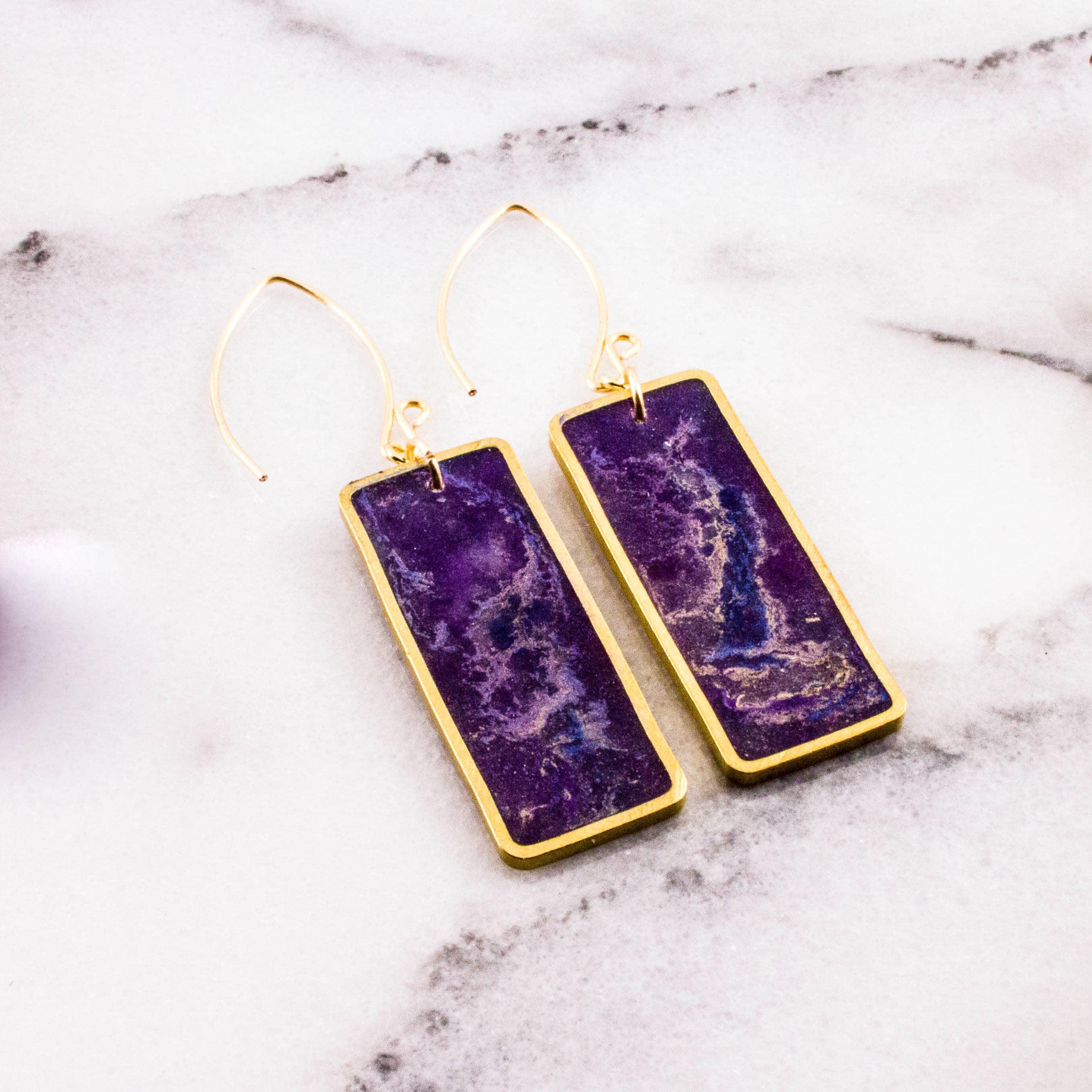 Violet Swirl Brass Rectangle Earrings   Trada Marketplace
