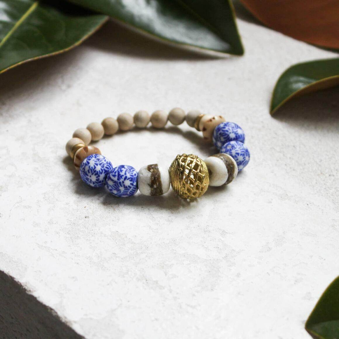 Blue & White Glass China + Brass  Bracelet. Fair Trade.   Trada Marketplace