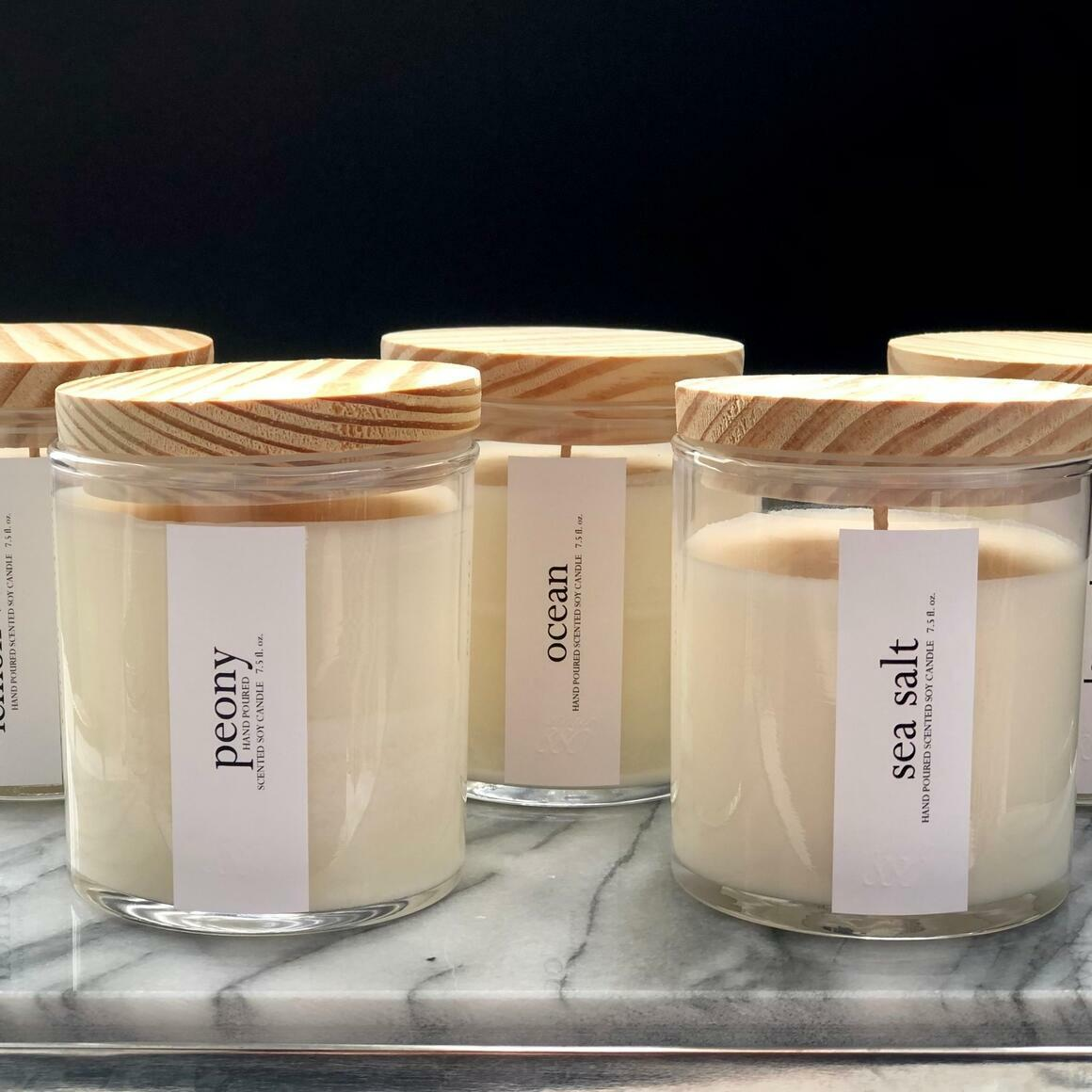 Minimalist Scented Candles - Clear Glass / Wood Lid | Trada Marketplace