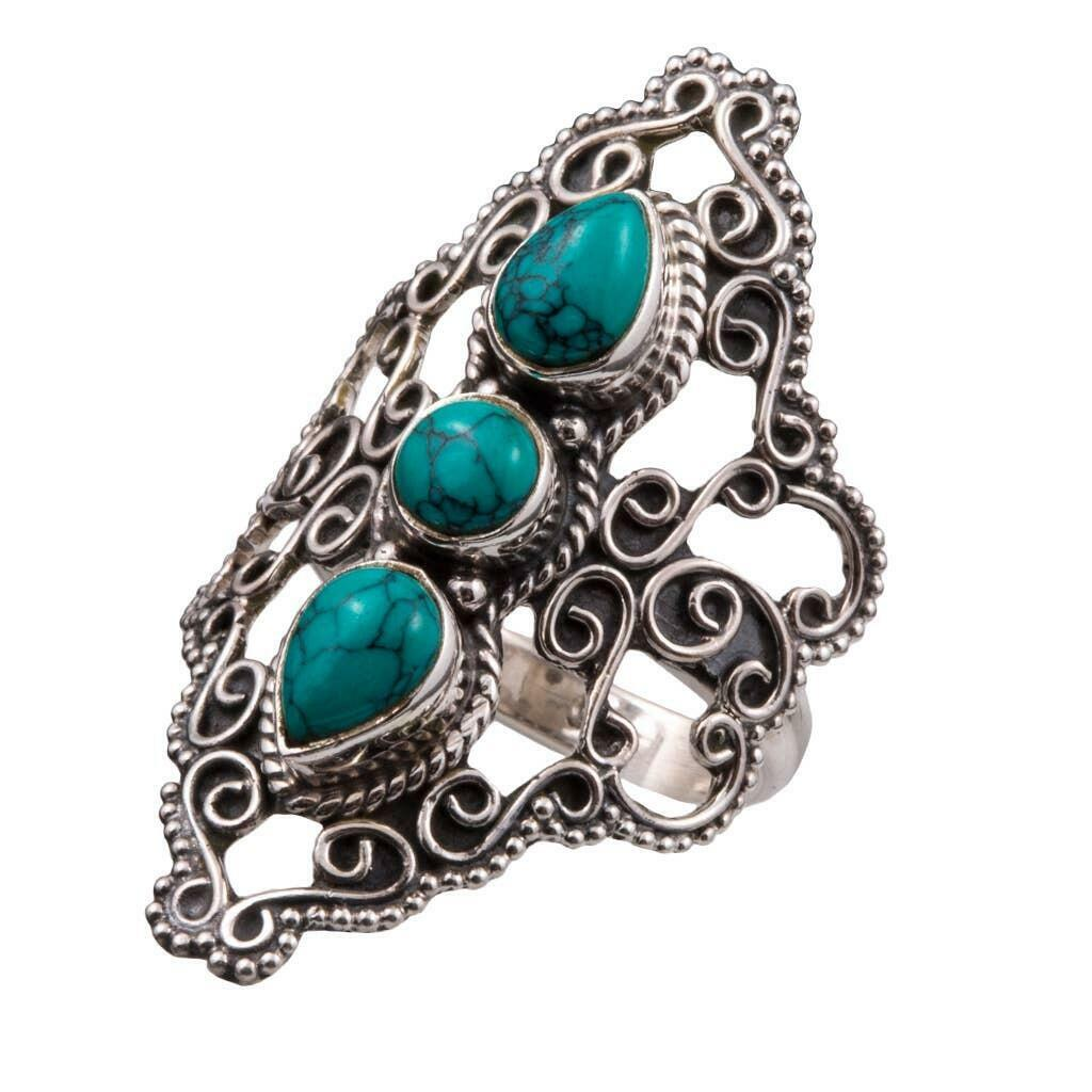 20% OFF Celebration Ornate 3 Stone Turquoise Sterling Ring   Trada Marketplace