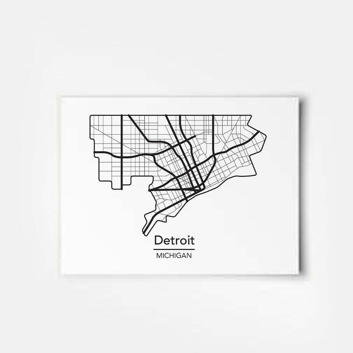Detroit, Michigan City Map Print   Trada Marketplace