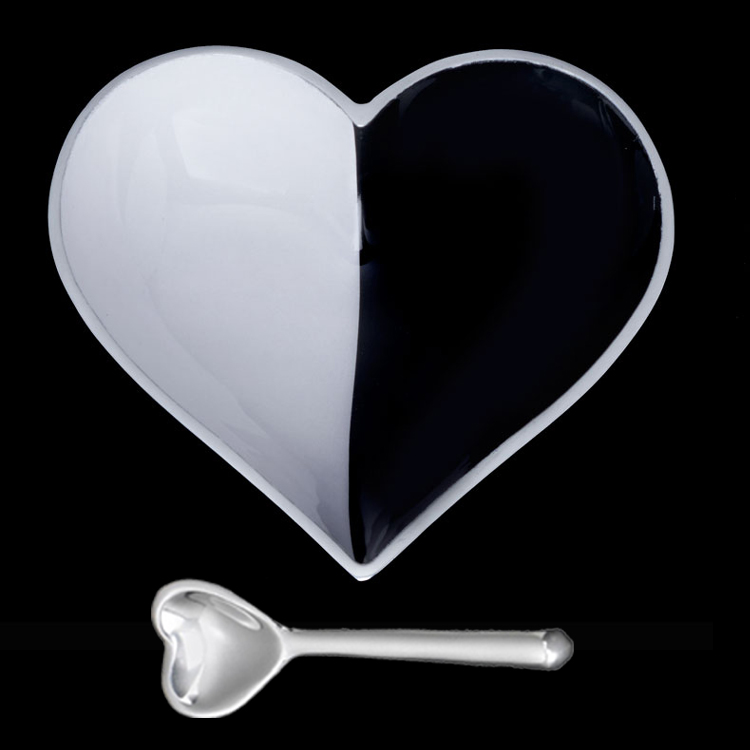 Happy B/W Cookie Heart with Heart Spoon   Trada Marketplace