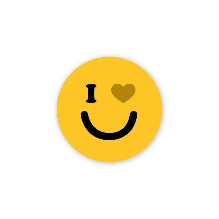 "I Heart You Yellow Smiley 2"" Round Sticker | Trada Marketplace"