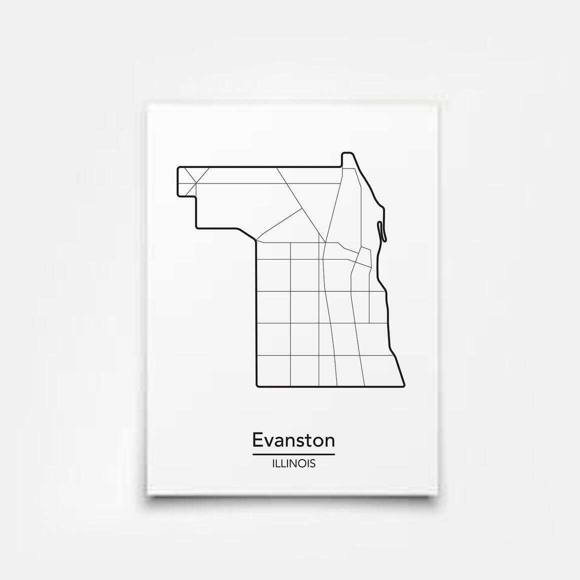 Evanston, Illinois City Map Print   Trada Marketplace