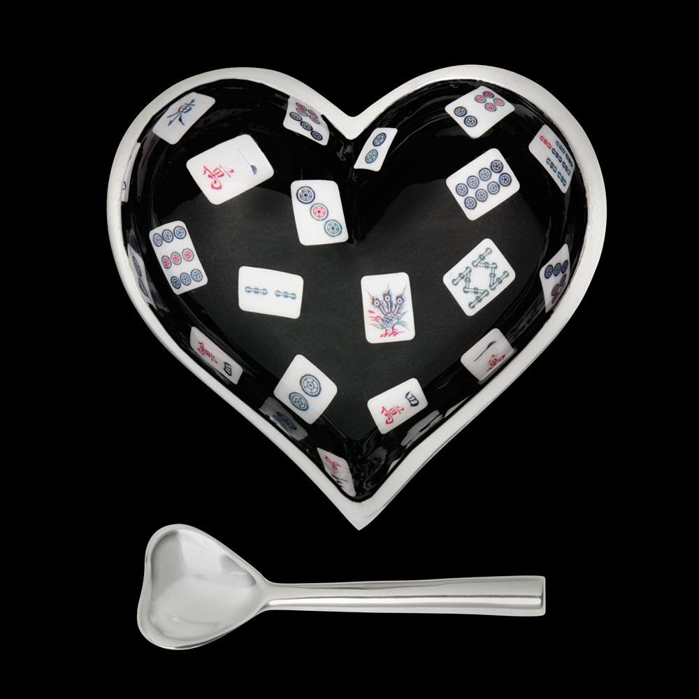 Happy Mah Jong Heart with Heart Spoon   Trada Marketplace