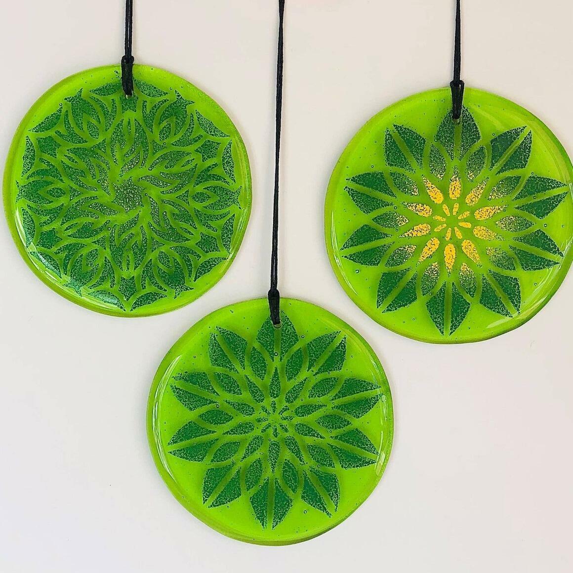 Glass Mandala Window Ornament Suncatcher - Spring Green | Trada Marketplace