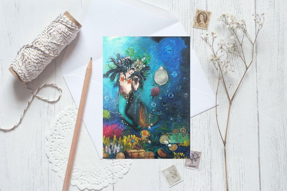 Mermaid Greeting Cards pkg of 5   Trada Marketplace