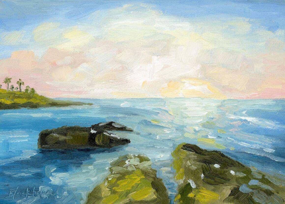 The Ocean Sparkles Horizontal Canvas Print   Trada Marketplace