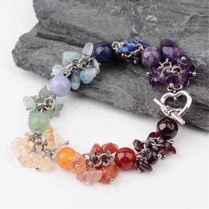 Chakra healing clusters helix bracelet | Trada Marketplace