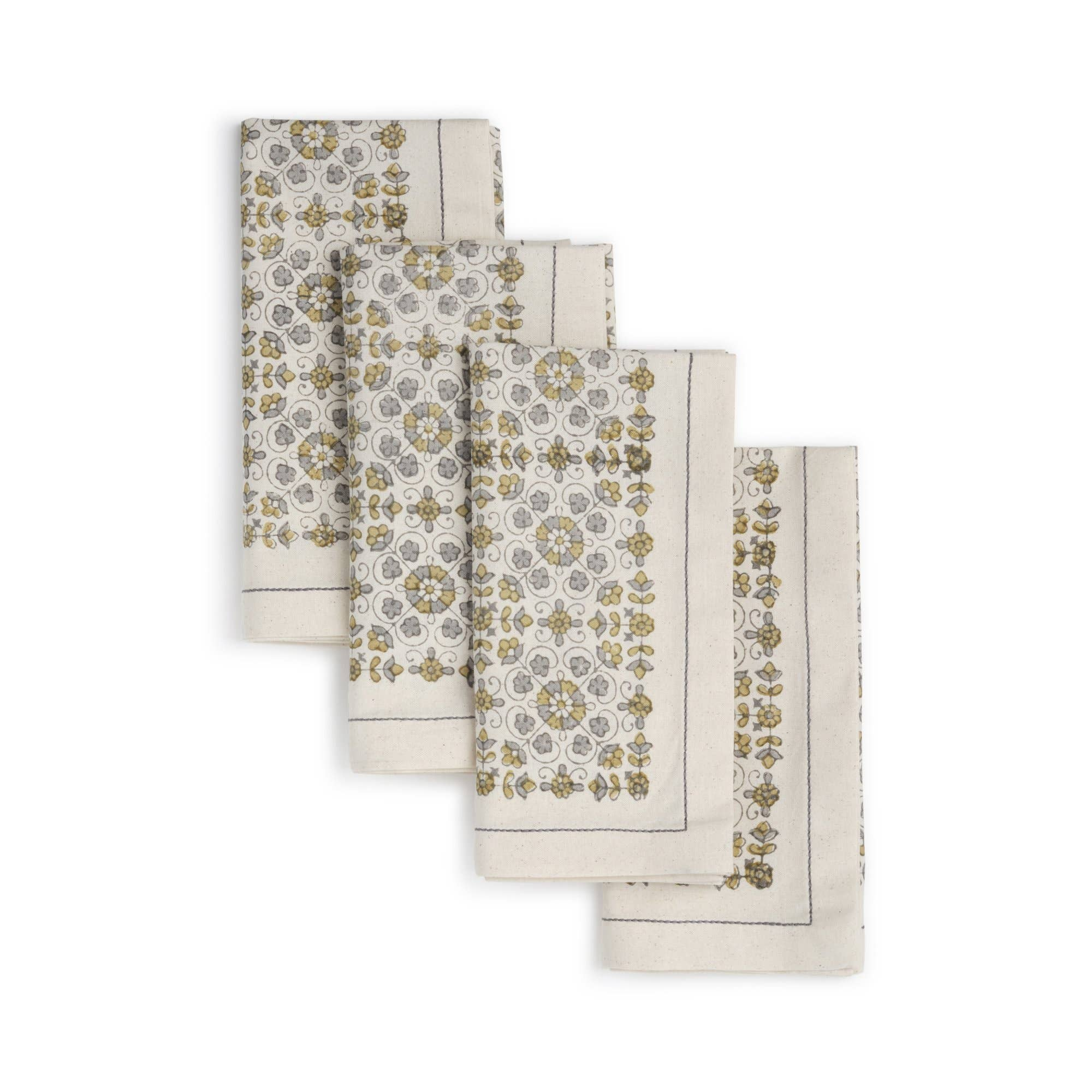 LILY Napkin  (set of 4), Hand Block Printed Cotton | Trada Marketplace