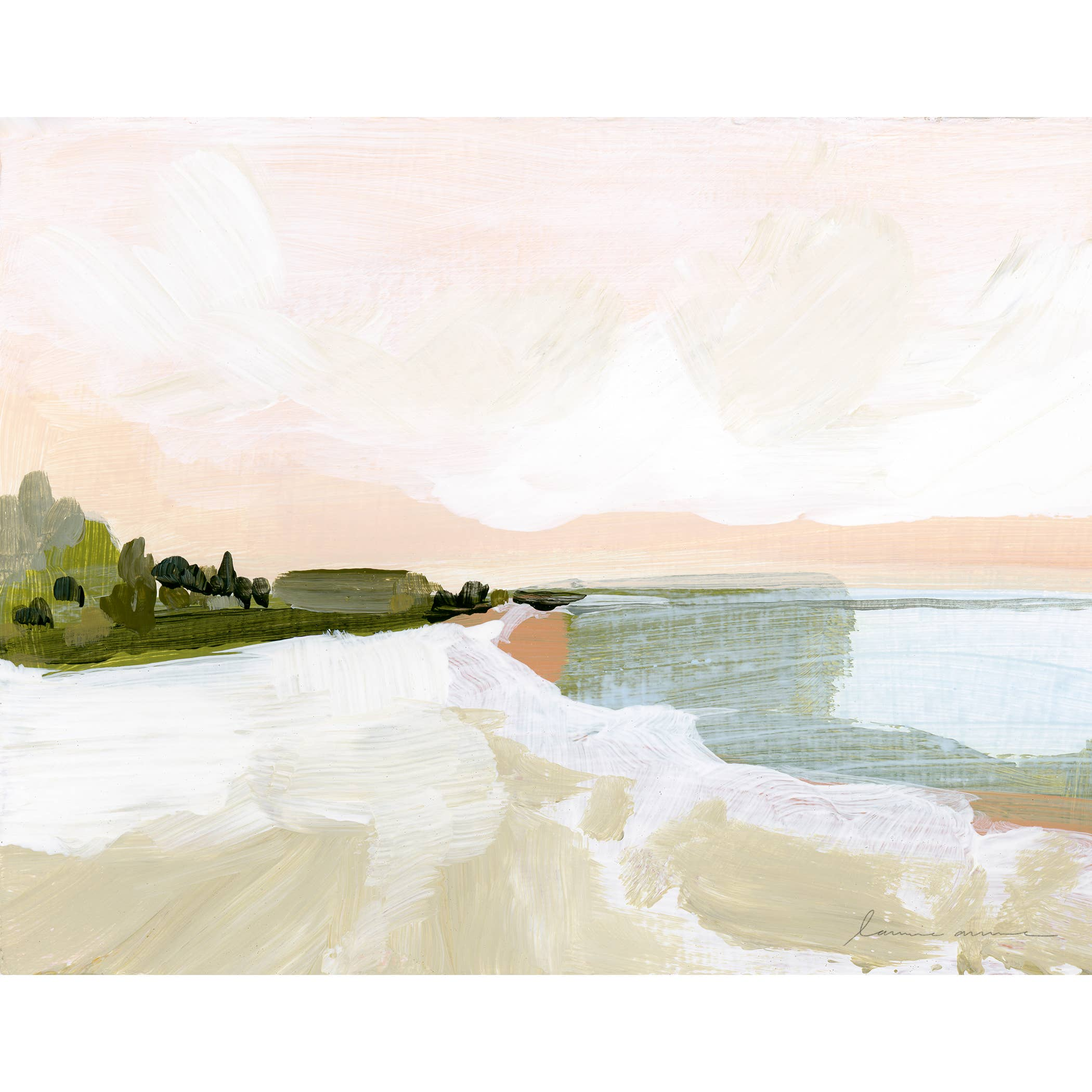 Peach Beach Horizontal Canvas Print   Trada Marketplace