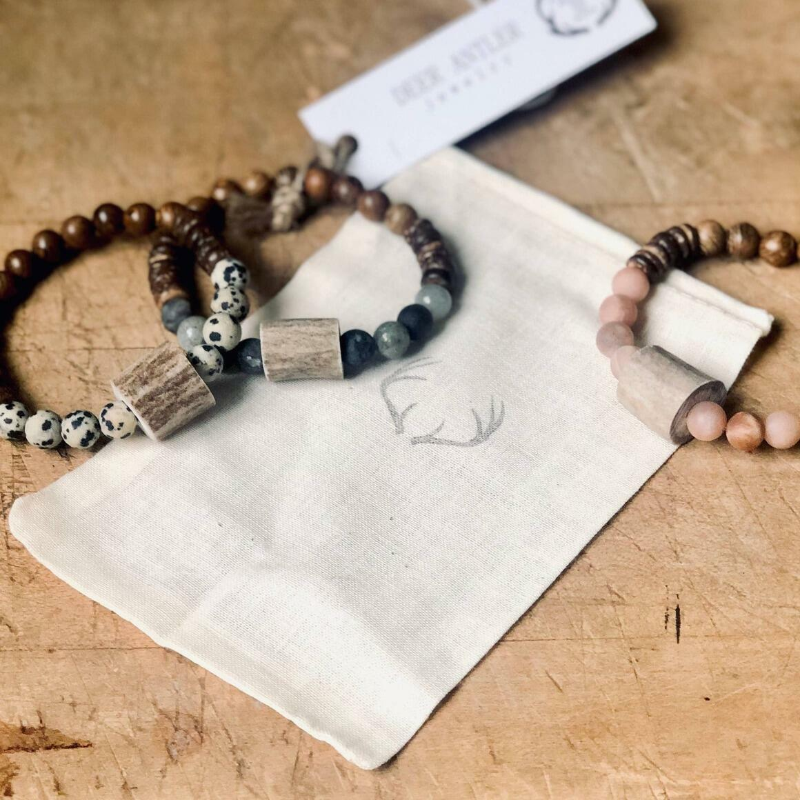 Antler and Gemstone Wood Bead Bracelet   Trada Marketplace
