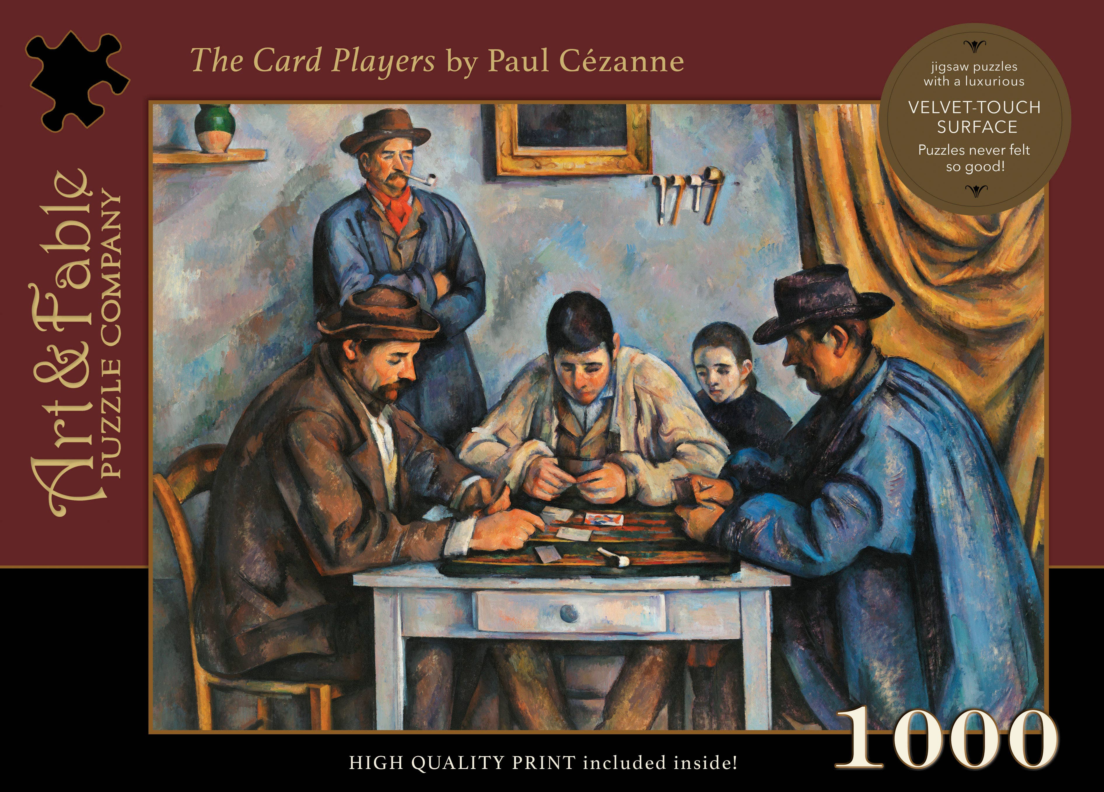 The Card Players, 1000-pc Velvet-Touch Puzzle by Cézanne | Trada Marketplace