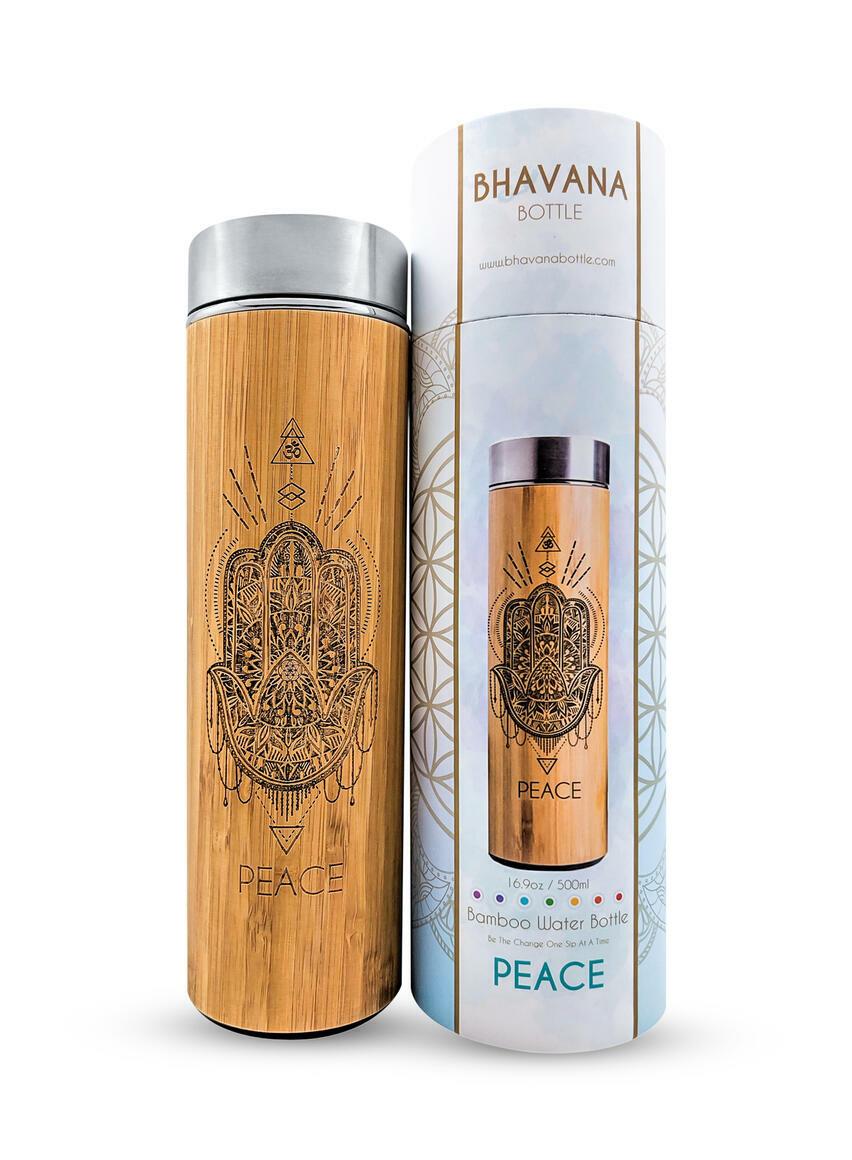 16.9oz PEACE Bamboo Water Bottle | Trada Marketplace