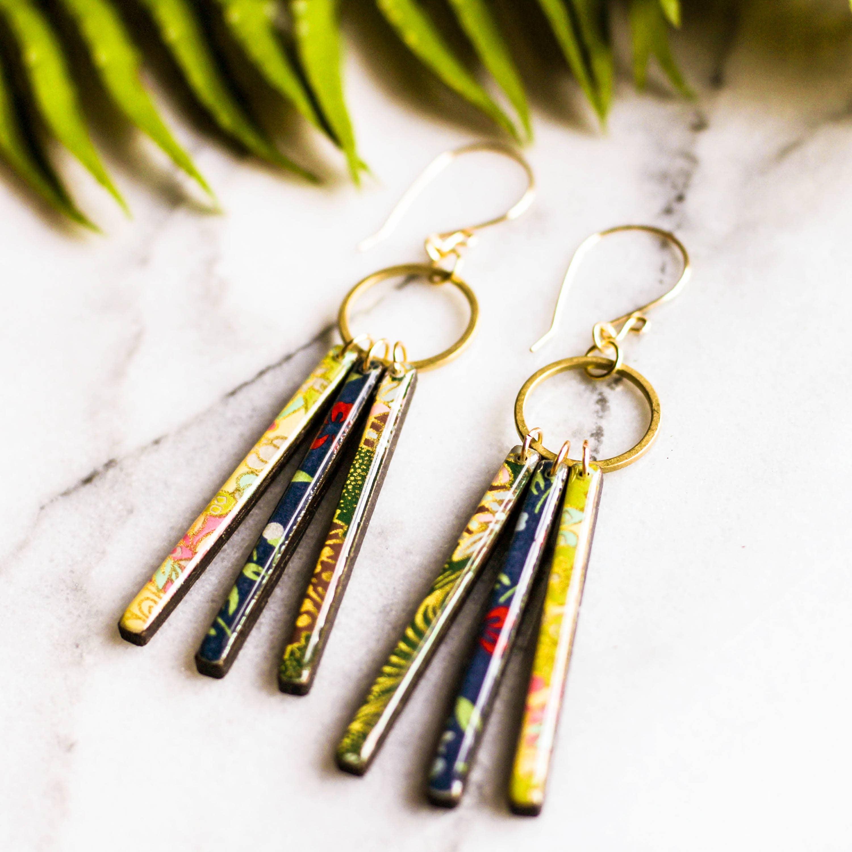 Collage Fringe Earrings - Green & Blue   Trada Marketplace