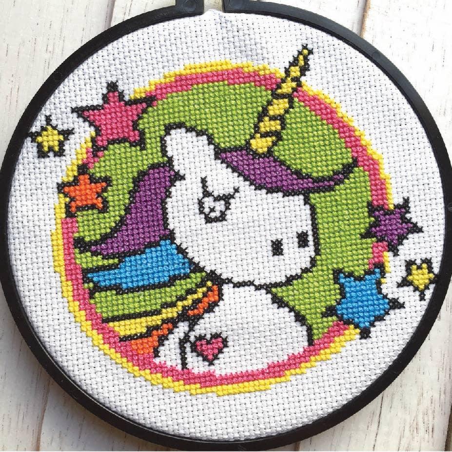 Badass Unicorn Cross Stitch Kit   Trada Marketplace