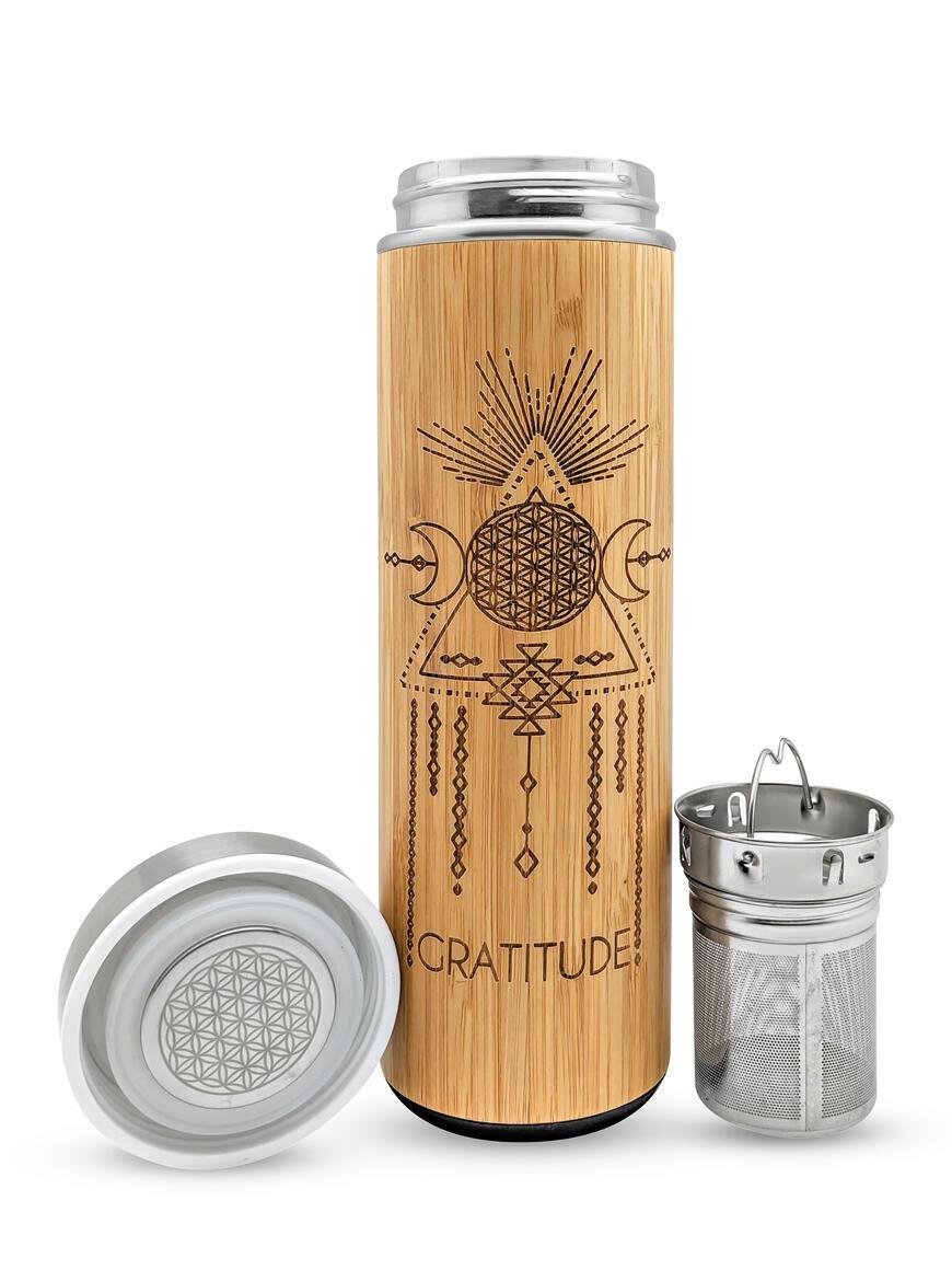 17.9oz GRATITUDE Bamboo Water Bottle | Trada Marketplace