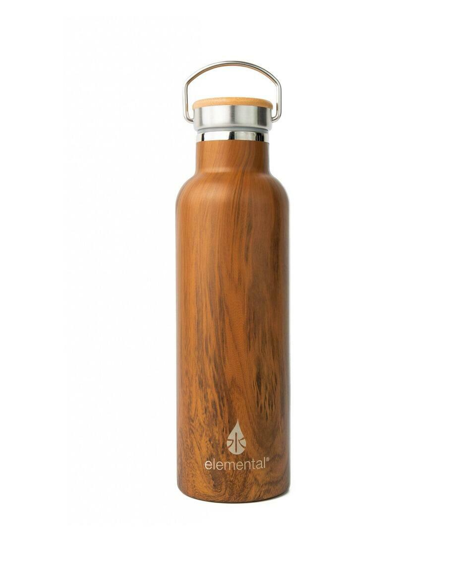 Classic Elemental Stainless Classic Water Bottle - Teak Wood   Trada Marketplace