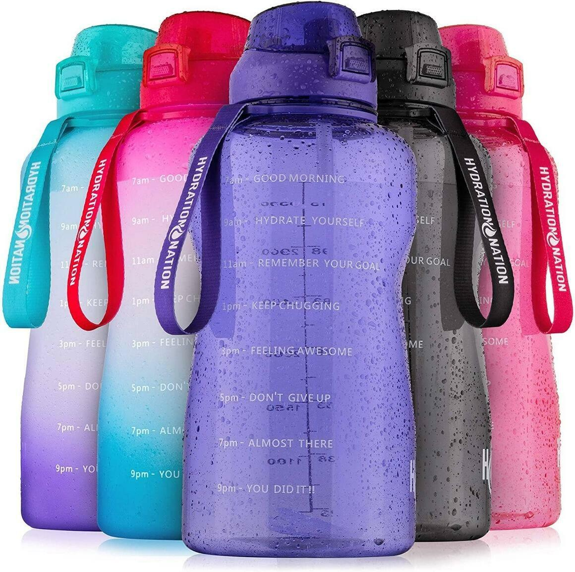 1 Gallon Water Bottle With Straw & Time Marker Quotes | Trada Marketplace