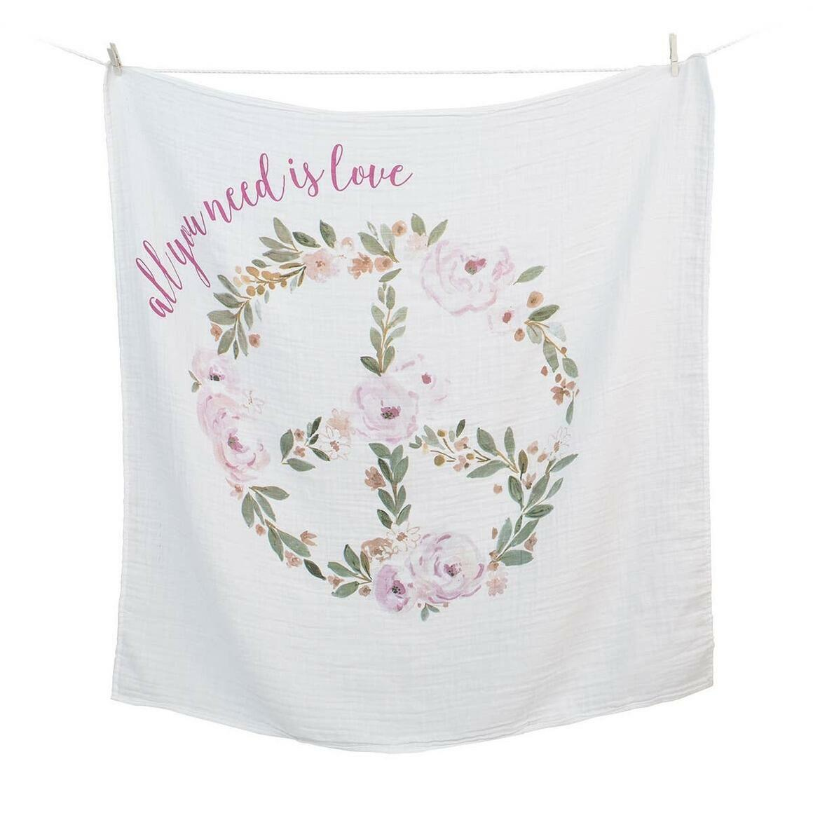 Single Cotton Swaddle & Cards - All You need Is Love   Trada Marketplace