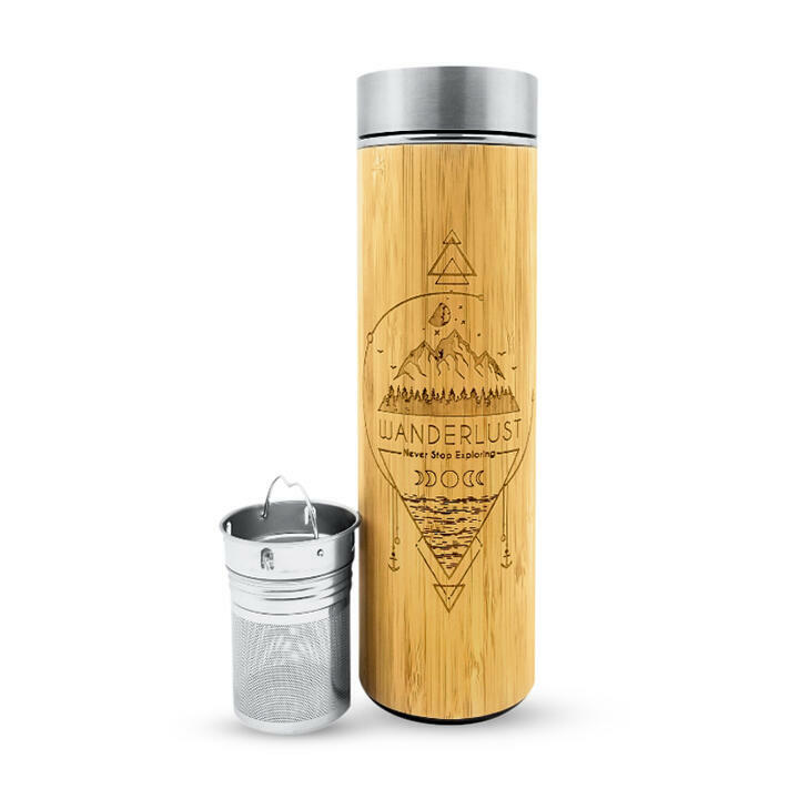 16.9oz WANDERLUST Bamboo Water Bottle | Trada Marketplace