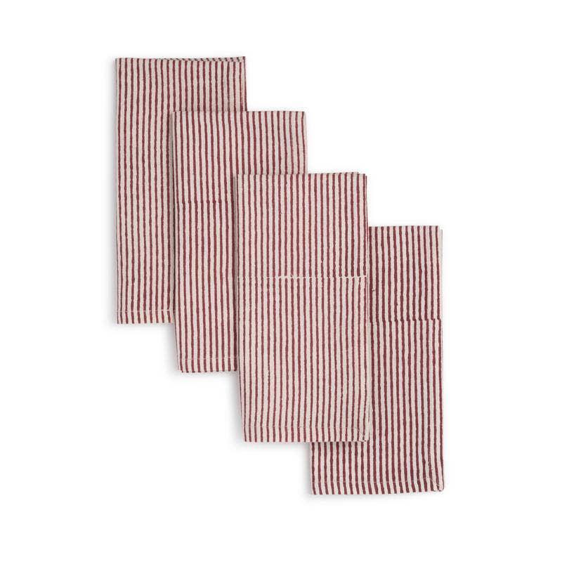 HIBISCUS Napkin  (set of 4), Hand Block Printed Cotton | Trada Marketplace