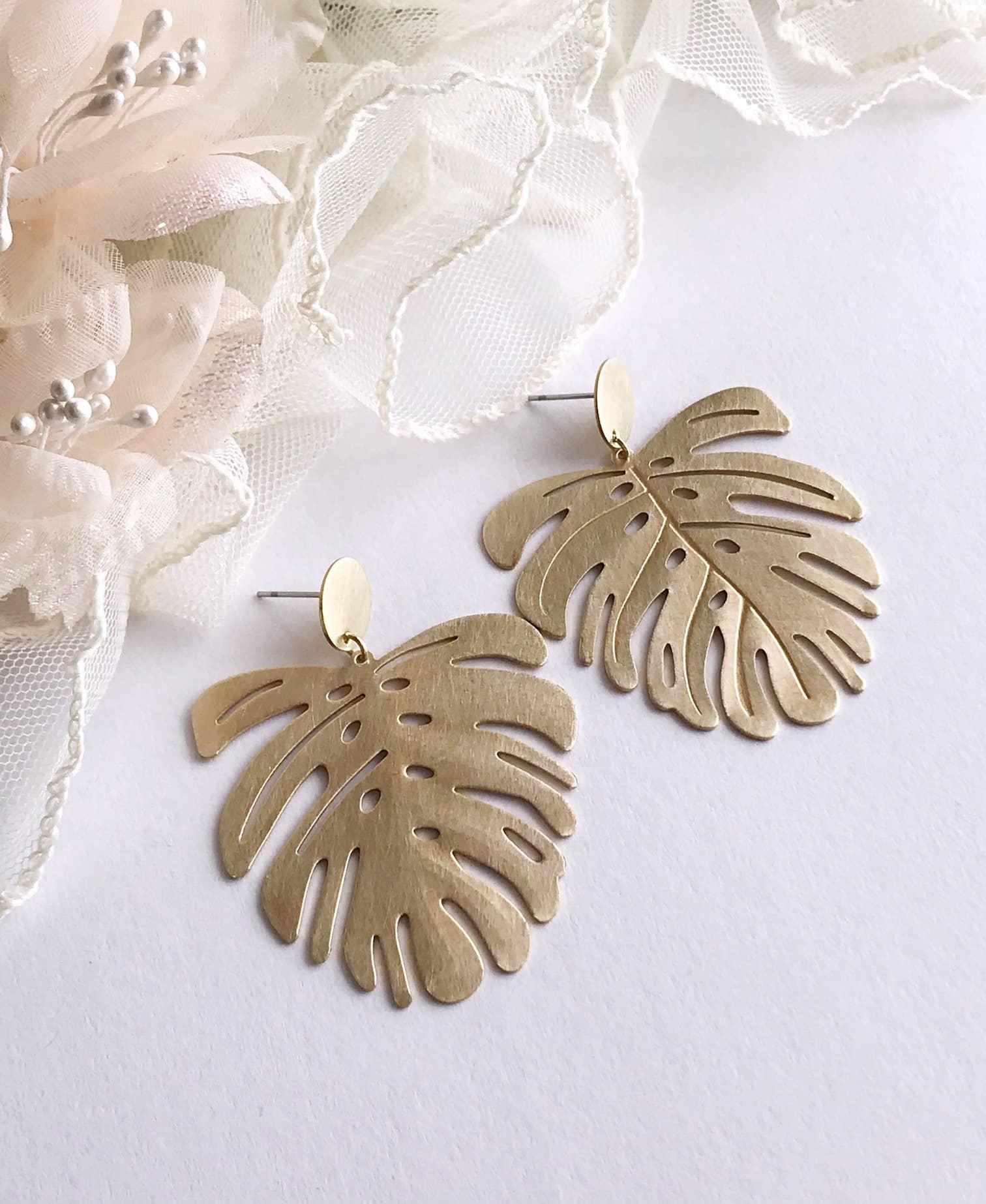 monstera earrings - brushed brass   Trada Marketplace