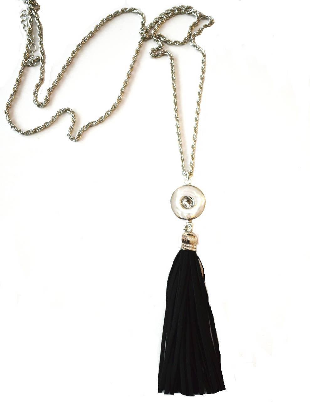 Snap Jewel Tassel Necklace - Black | Trada Marketplace