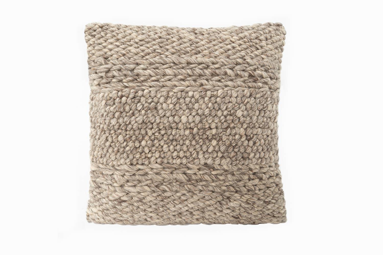 Handwoven Textured Taupe Pillow   Trada Marketplace