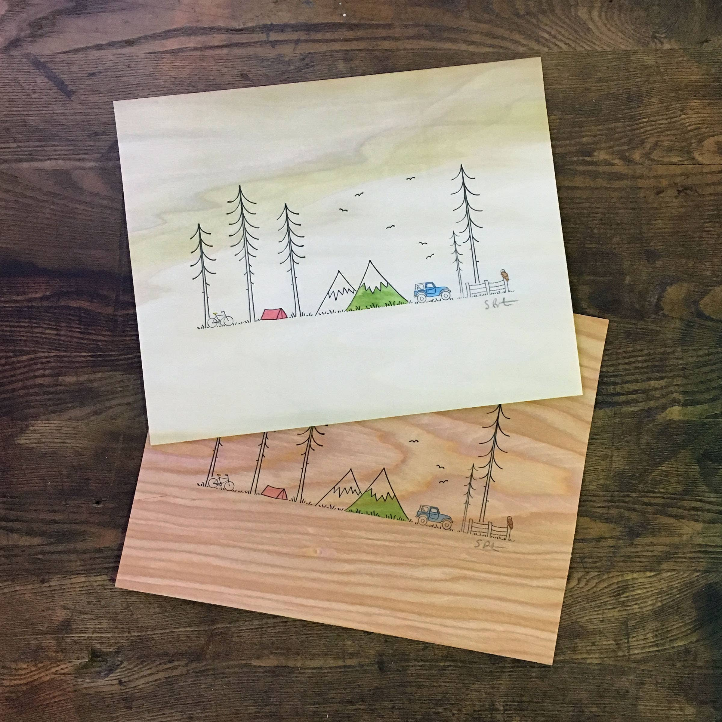 "8"" x 10"" Minimal Adventure Letterpress Print with Watercolor | Trada Marketplace"