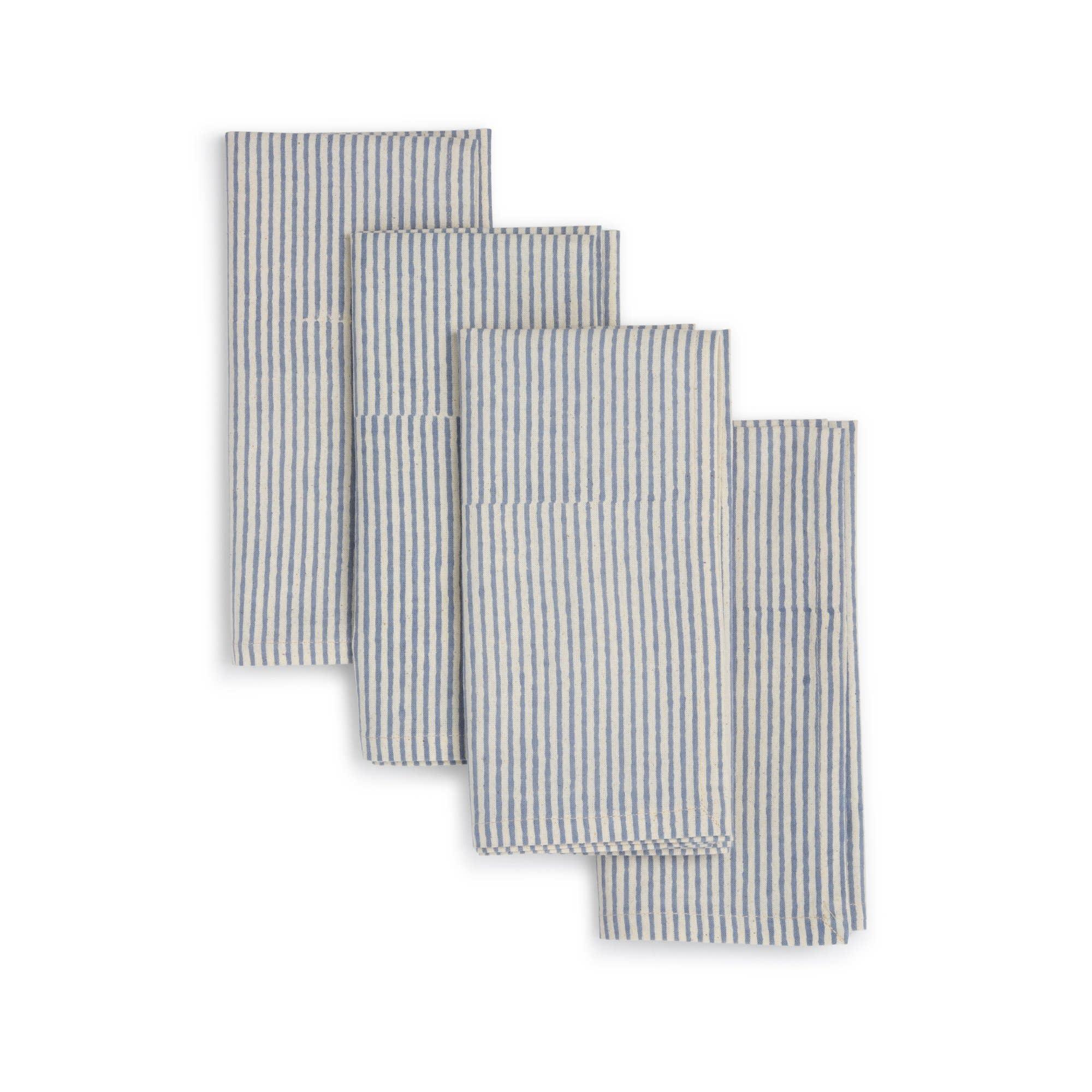 BLUE MOON Napkin  (set of 4), Hand Block Printed Cotton | Trada Marketplace