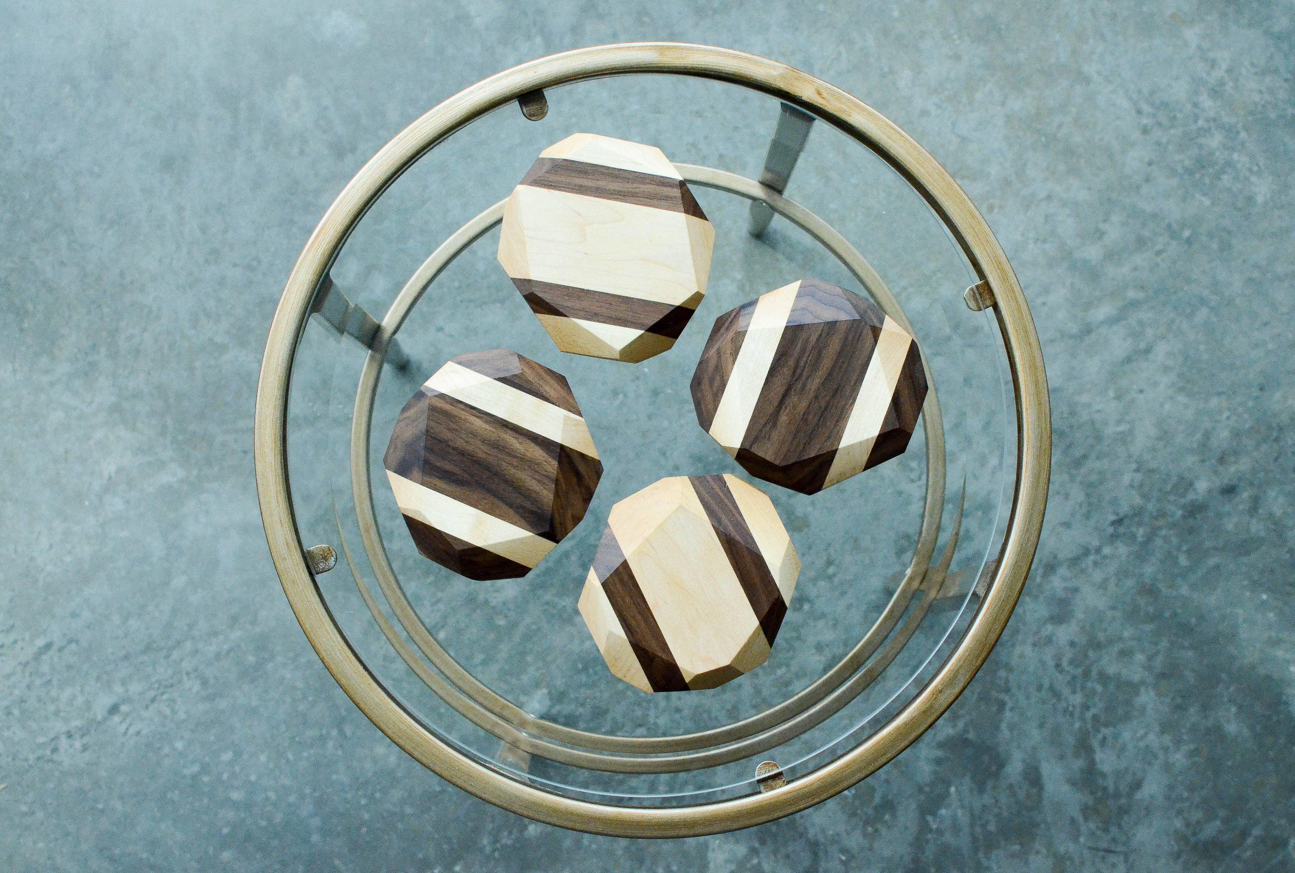 Wooden Geometric Coasters (Set of 4) | Trada Marketplace