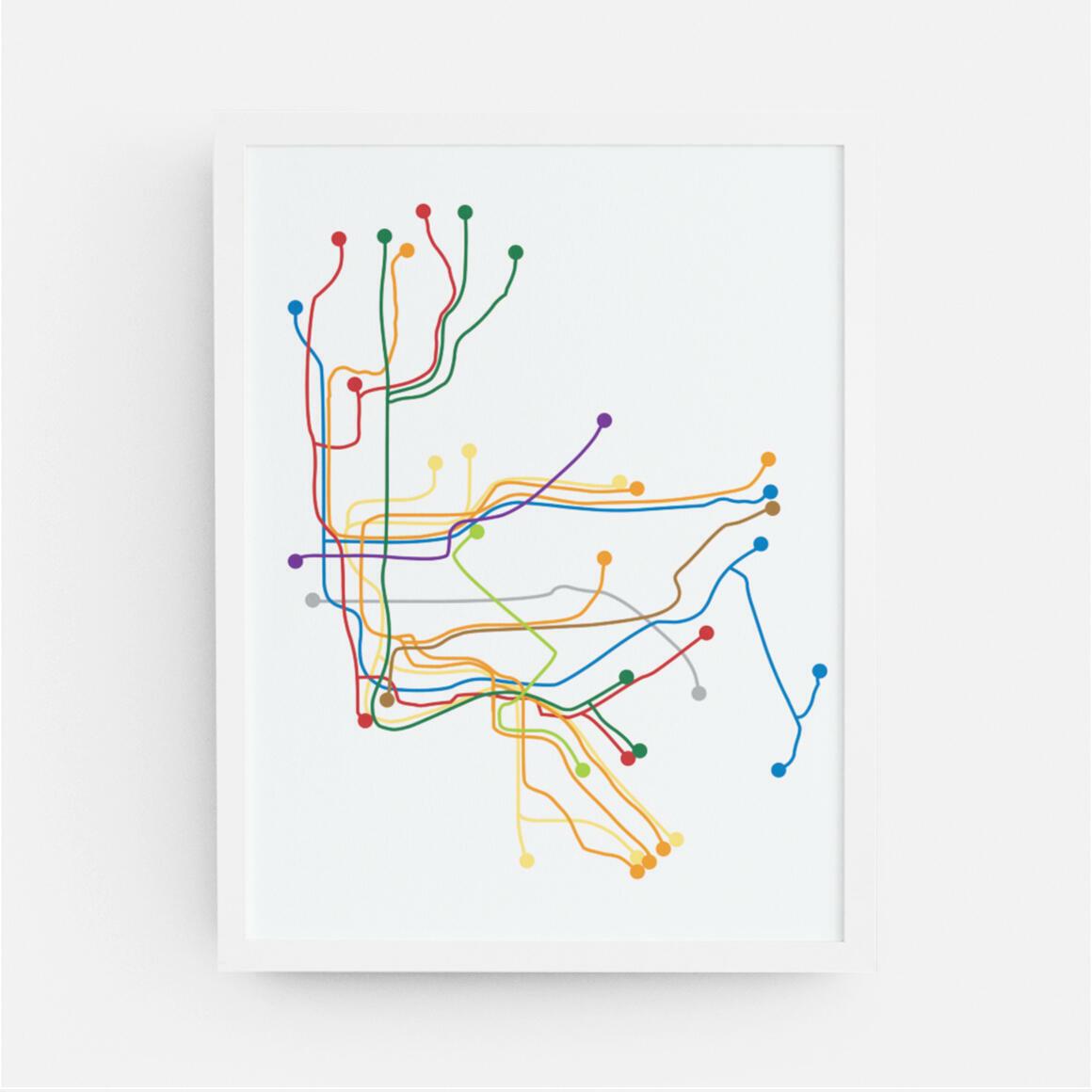 New York City Subway Map Print   Trada Marketplace