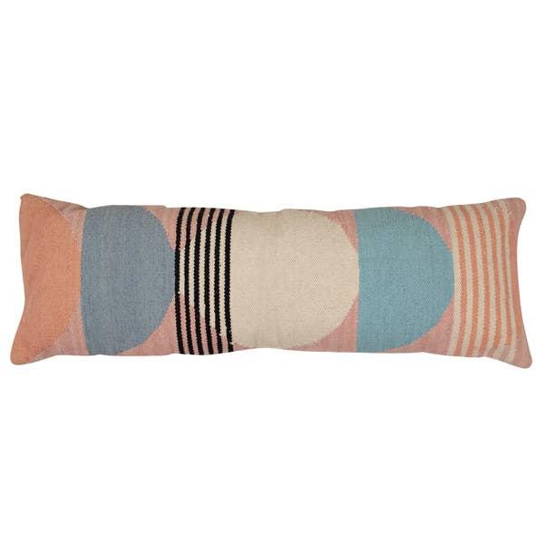 Handmade Circle Geo Lumbar Cushion, Multi - 12x34 inch   Trada Marketplace