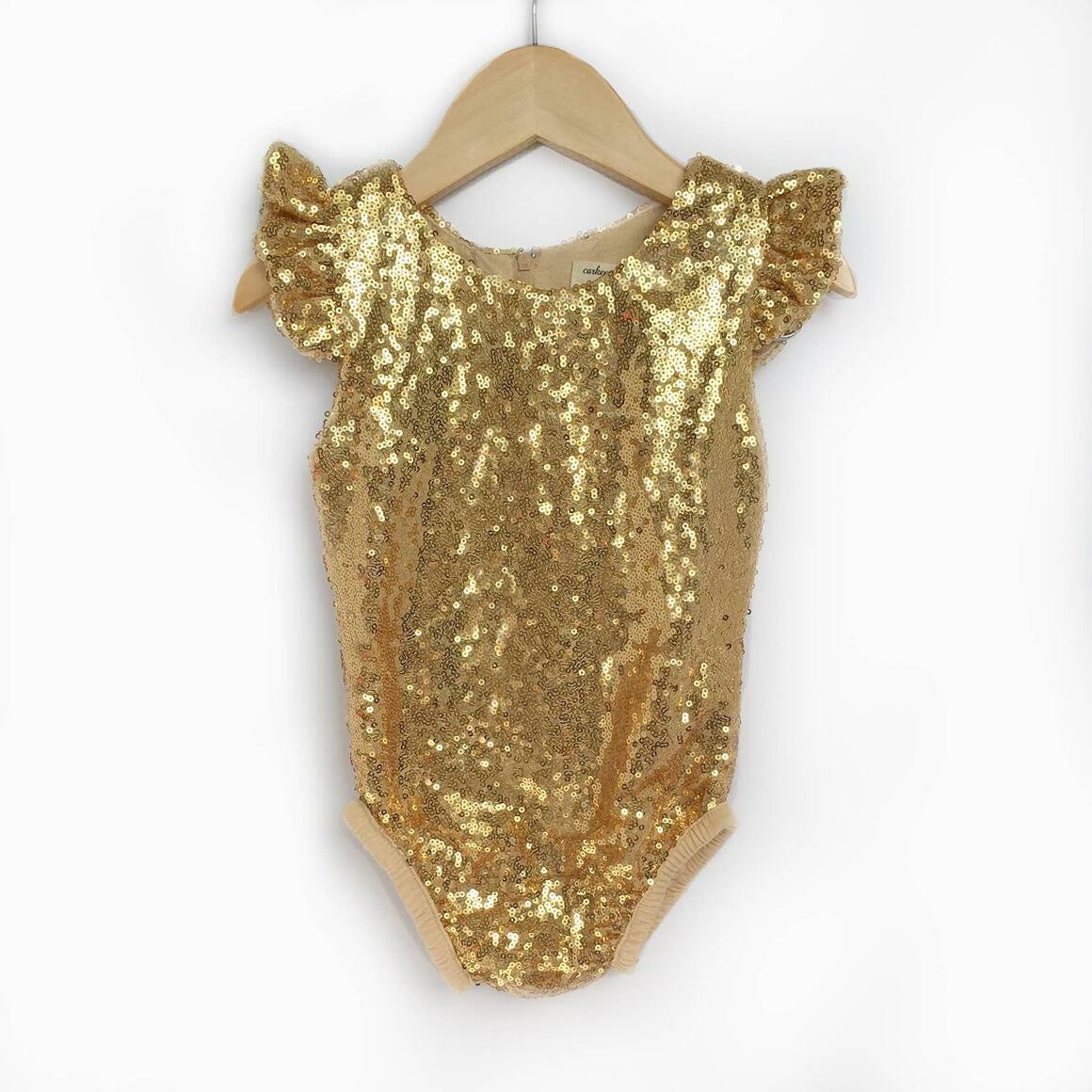 Gold Sequin Flutter Sleeve Leotards   Trada Marketplace
