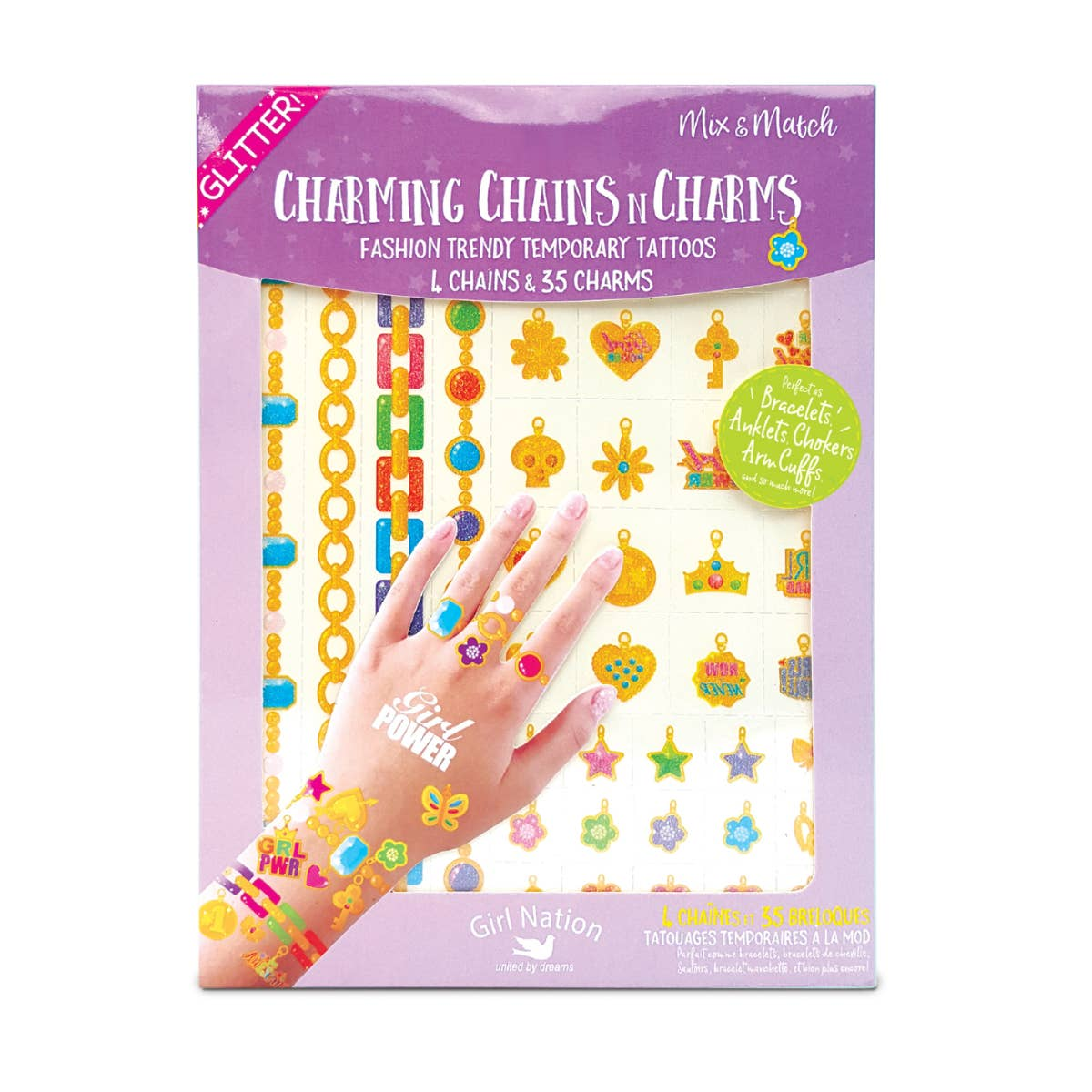 Charming Chains n Charms Temporary Tattoos- Girl Power | Trada Marketplace