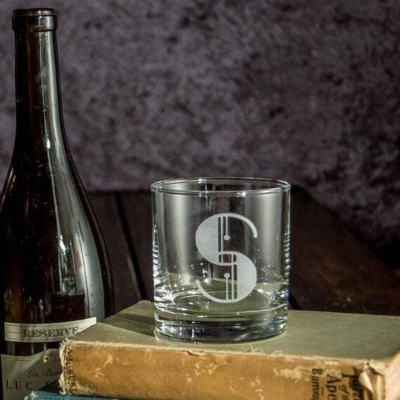 Initials Letters Alphabet Etched Whiskey Glass   Trada Marketplace